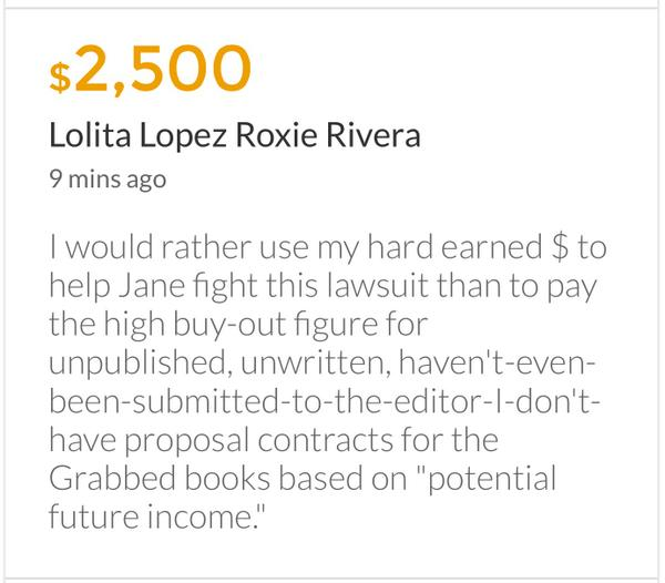 Lolita Lopez / Roxie Rivera Contribution Note