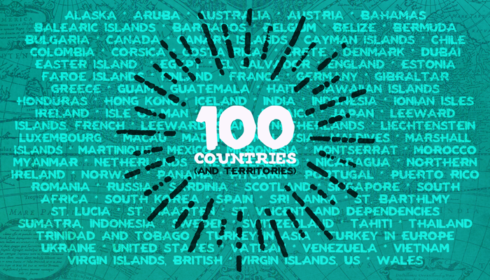 100 Countries (and Territories)!