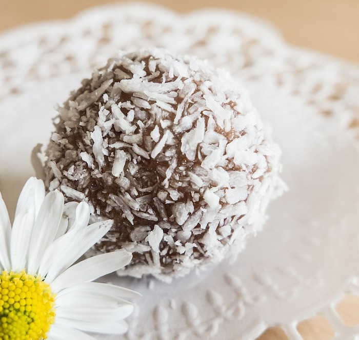 Coconut-covered praline