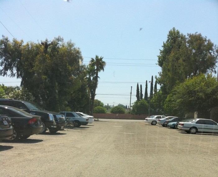 Scientology's empty, ratty parking lot