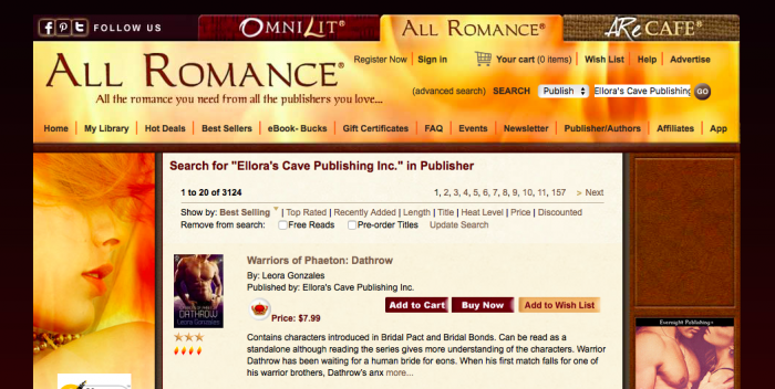 Ellora's Cave Catalog Size on All Romance E-Books.