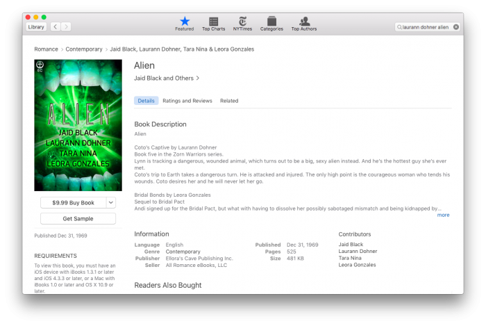 Reverted Laurann Dohner story still being published by Ellora's Cave on iBooks.