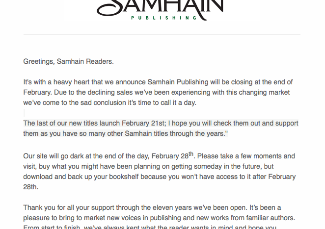 Samhain Publishing Closing, So Download Your Books